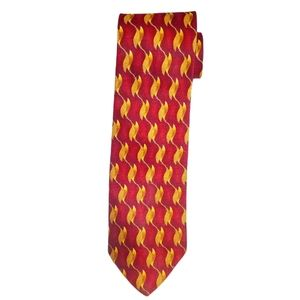 #BM Crest The Uniform Company Vintage  Mens Tie Red & Golden Yellow